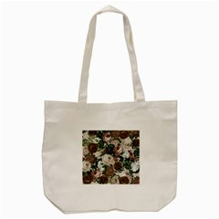 Rose Bushes Brown Tote Bag (cream) by snowwhitegirl