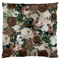 Rose Bushes Brown Large Flano Cushion Case (one Side) by snowwhitegirl