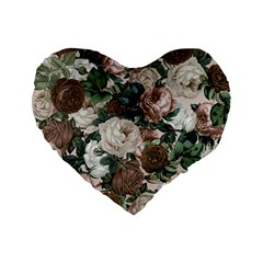 Rose Bushes Brown Standard 16  Premium Flano Heart Shape Cushions by snowwhitegirl