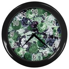Rose Bushes Green Wall Clocks (black) by snowwhitegirl