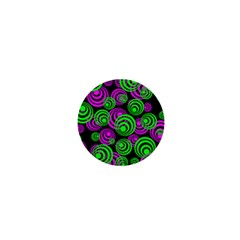 Neon Green And Pink Circles 1  Mini Buttons by PodArtist