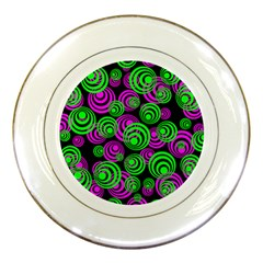 Neon Green And Pink Circles Porcelain Plates by PodArtist