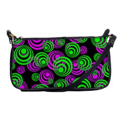 Neon Green And Pink Circles Shoulder Clutch Bags by PodArtist