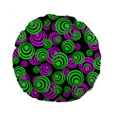 Neon Green And Pink Circles Standard 15  Premium Flano Round Cushions by PodArtist