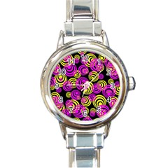Neon Yellow And Hot Pink Circles Round Italian Charm Watch by PodArtist