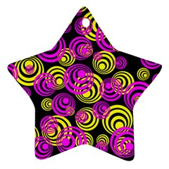 Neon Yellow And Hot Pink Circles Star Ornament (two Sides) by PodArtist