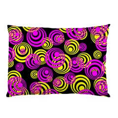 Neon Yellow And Hot Pink Circles Pillow Case by PodArtist