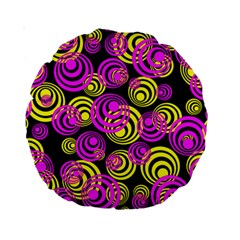 Neon Yellow And Hot Pink Circles Standard 15  Premium Round Cushions by PodArtist