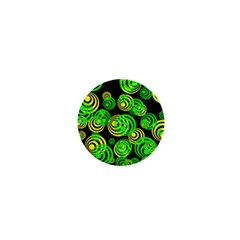Neon Yellow And Green Circles On Black 1  Mini Buttons by PodArtist