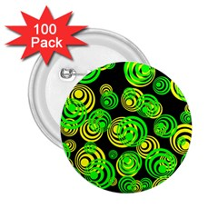 Neon Yellow And Green Circles On Black 2 25  Buttons (100 Pack)  by PodArtist