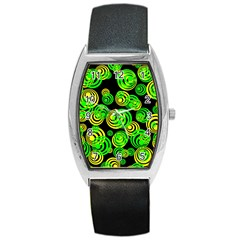 Neon Yellow And Green Circles On Black Barrel Style Metal Watch