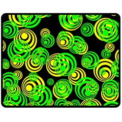 Neon Yellow And Green Circles On Black Fleece Blanket (medium)  by PodArtist
