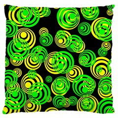 Neon Yellow And Green Circles On Black Large Cushion Case (two Sides) by PodArtist