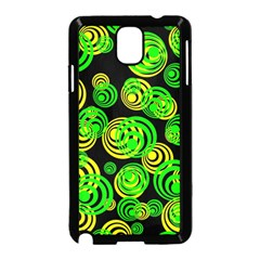 Neon Yellow And Green Circles On Black Samsung Galaxy Note 3 Neo Hardshell Case (black) by PodArtist