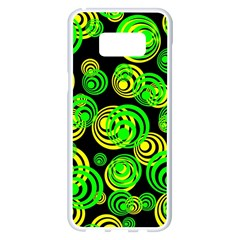 Neon Yellow And Green Circles On Black Samsung Galaxy S8 Plus White Seamless Case