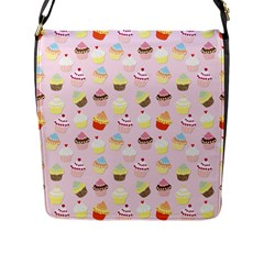 Baby Pink Valentines Cup Cakes Flap Messenger Bag (l)  by PodArtist