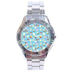 Pale Pastel Blue Cup Cakes Stainless Steel Analogue Watch by PodArtist