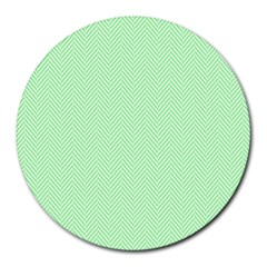 Classic Mint Green & White Herringbone Pattern Round Mousepads by PodArtist