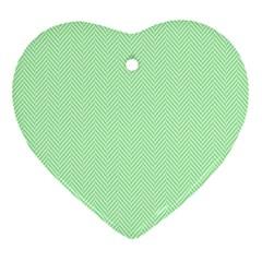 Classic Mint Green & White Herringbone Pattern Ornament (heart) by PodArtist