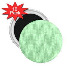Classic Mint Green & White Herringbone Pattern 2 25  Magnets (10 Pack)  by PodArtist