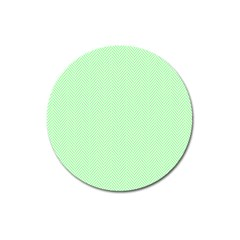 Classic Mint Green & White Herringbone Pattern Magnet 3  (round) by PodArtist