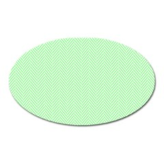 Classic Mint Green & White Herringbone Pattern Oval Magnet by PodArtist