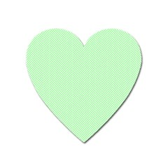 Classic Mint Green & White Herringbone Pattern Heart Magnet by PodArtist