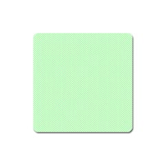 Classic Mint Green & White Herringbone Pattern Square Magnet by PodArtist