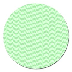 Classic Mint Green & White Herringbone Pattern Magnet 5  (round) by PodArtist
