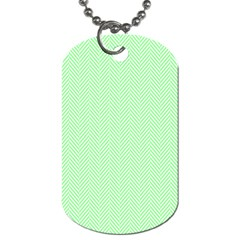 Classic Mint Green & White Herringbone Pattern Dog Tag (two Sides) by PodArtist