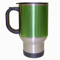 Classic Mint Green & White Herringbone Pattern Travel Mug (silver Gray) by PodArtist