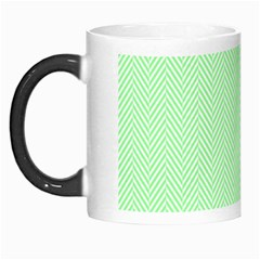 Classic Mint Green & White Herringbone Pattern Morph Mugs by PodArtist