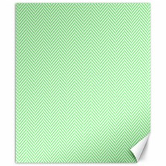 Classic Mint Green & White Herringbone Pattern Canvas 8  X 10  by PodArtist