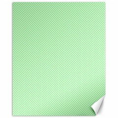 Classic Mint Green & White Herringbone Pattern Canvas 16  X 20   by PodArtist