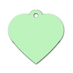 Classic Mint Green & White Herringbone Pattern Dog Tag Heart (one Side) by PodArtist