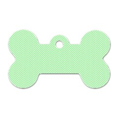 Classic Mint Green & White Herringbone Pattern Dog Tag Bone (two Sides) by PodArtist