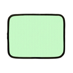 Classic Mint Green & White Herringbone Pattern Netbook Case (small)