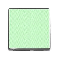 Classic Mint Green & White Herringbone Pattern Memory Card Reader (square) by PodArtist