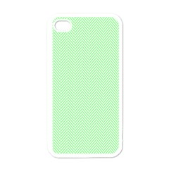 Classic Mint Green & White Herringbone Pattern Apple Iphone 4 Case (white) by PodArtist