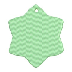 Classic Mint Green & White Herringbone Pattern Ornament (snowflake) by PodArtist