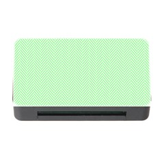 Classic Mint Green & White Herringbone Pattern Memory Card Reader With Cf by PodArtist