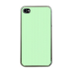 Classic Mint Green & White Herringbone Pattern Apple Iphone 4 Case (clear) by PodArtist