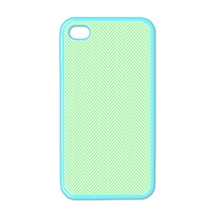 Classic Mint Green & White Herringbone Pattern Apple Iphone 4 Case (color) by PodArtist