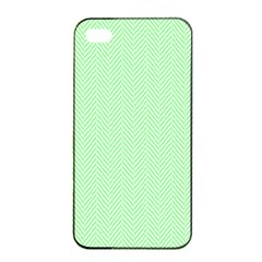 Classic Mint Green & White Herringbone Pattern Apple Iphone 4/4s Seamless Case (black) by PodArtist