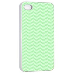 Classic Mint Green & White Herringbone Pattern Apple Iphone 4/4s Seamless Case (white) by PodArtist