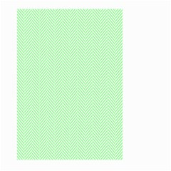 Classic Mint Green & White Herringbone Pattern Large Garden Flag (two Sides) by PodArtist