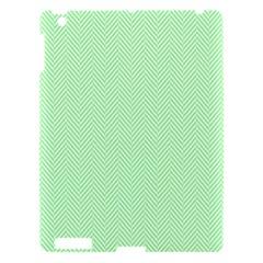 Classic Mint Green & White Herringbone Pattern Apple Ipad 3/4 Hardshell Case by PodArtist