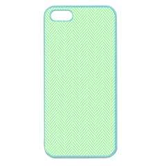 Classic Mint Green & White Herringbone Pattern Apple Seamless Iphone 5 Case (color) by PodArtist
