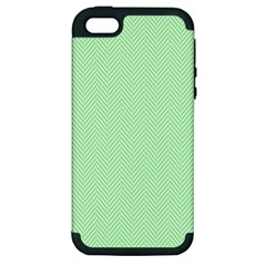 Classic Mint Green & White Herringbone Pattern Apple Iphone 5 Hardshell Case (pc+silicone) by PodArtist