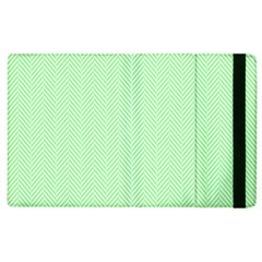 Classic Mint Green & White Herringbone Pattern Apple Ipad 2 Flip Case by PodArtist